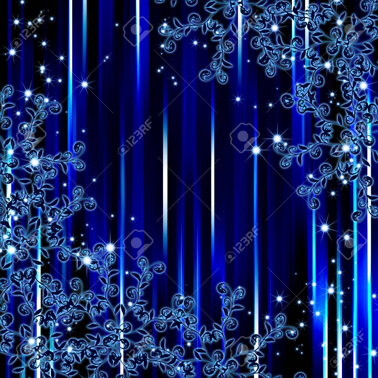 abstract blue stripe floral frame background Stock Photo - 6187715
