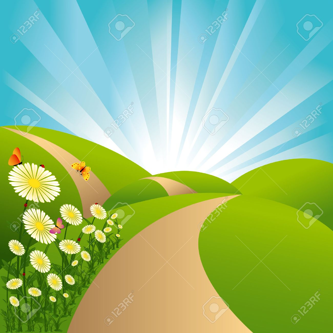 Spring landscape green fields blue sky flowers and butterflies Stock Vector - 6368261