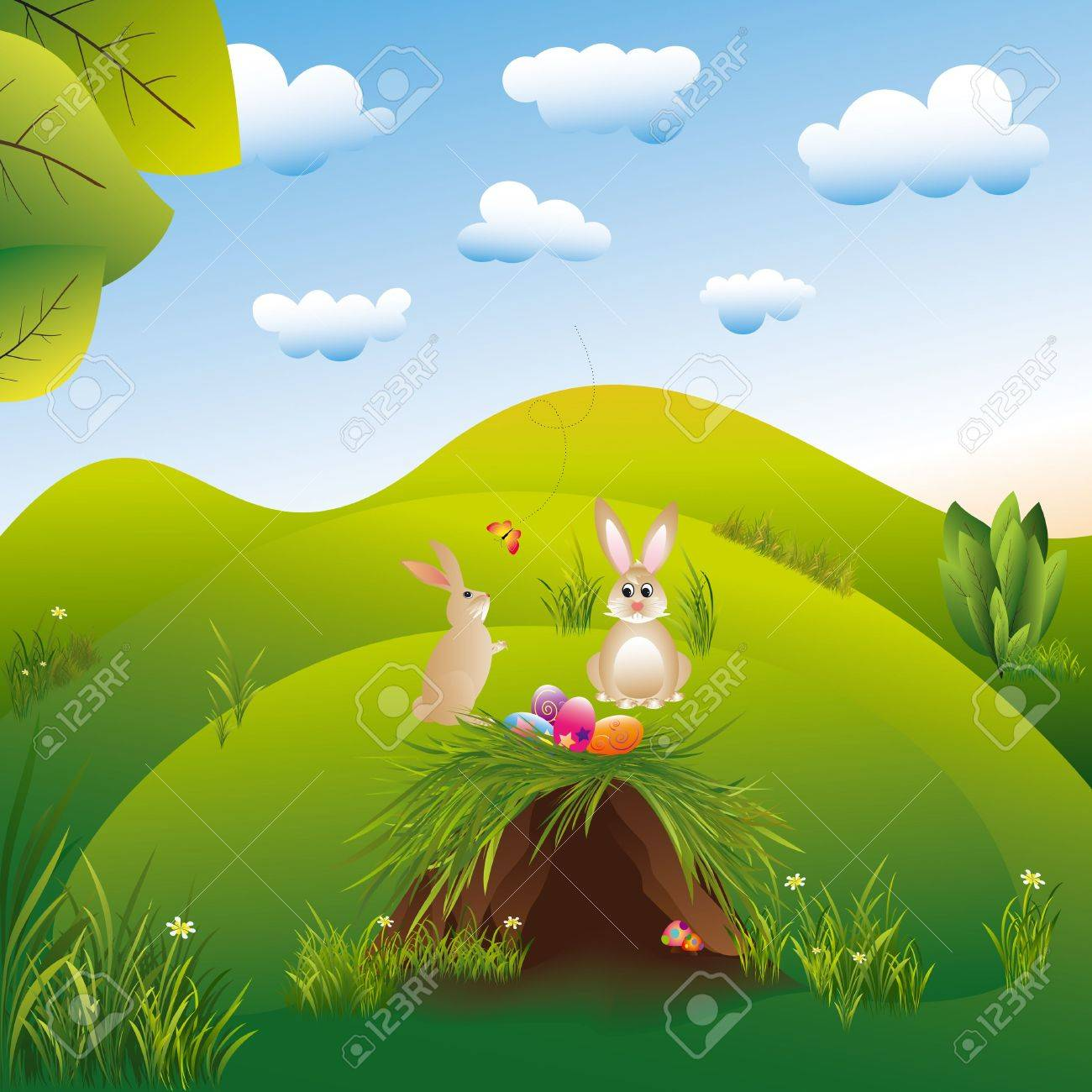 Springtime easter holiday landspace hares in the wonderland Stock Vector - 6636726
