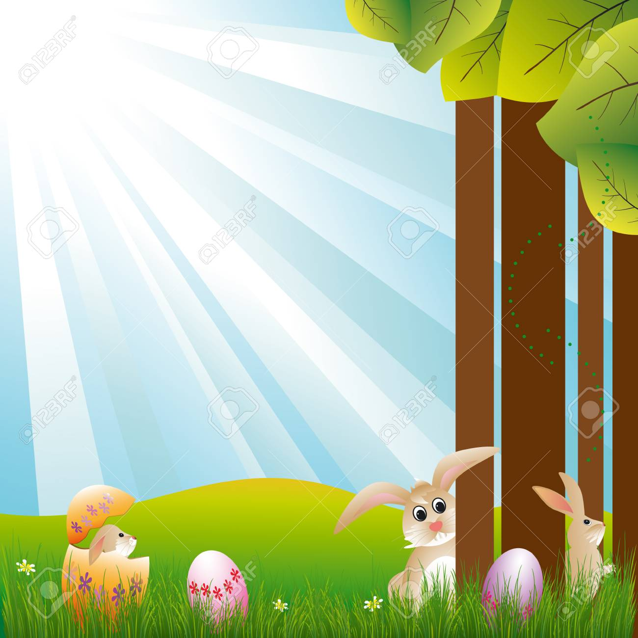 Springtime easter holiday happy bunnies play around Stock Vector - 6636725