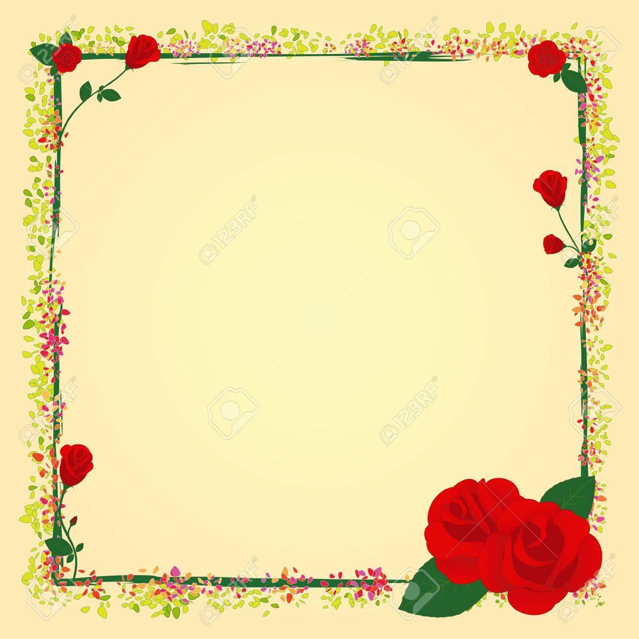 Marco De Flor De Jardín De Rosas De Verano Ilustraciones Vectoriales ...
