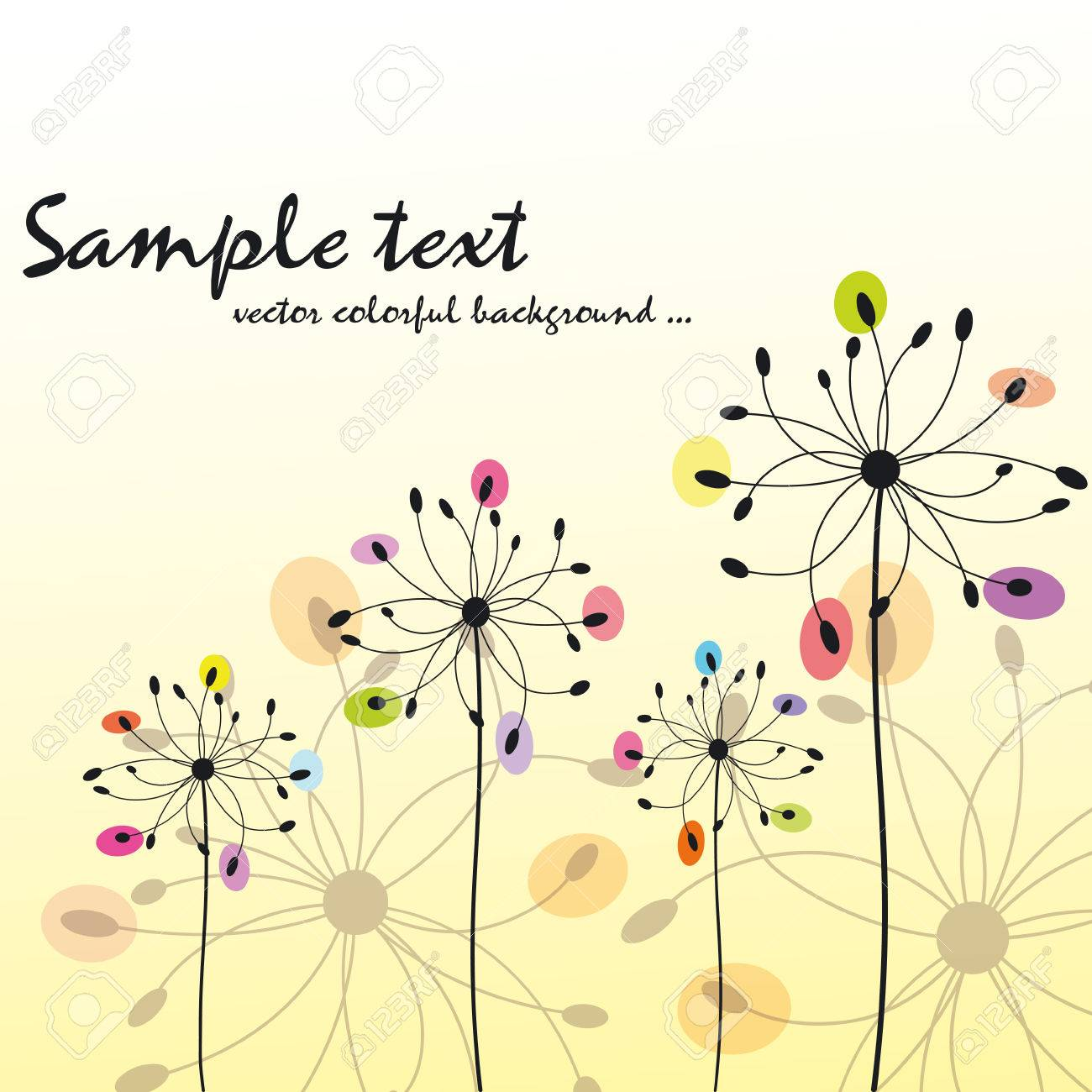 Spring summer colorful floral greeting card Stock Vector - 7187499