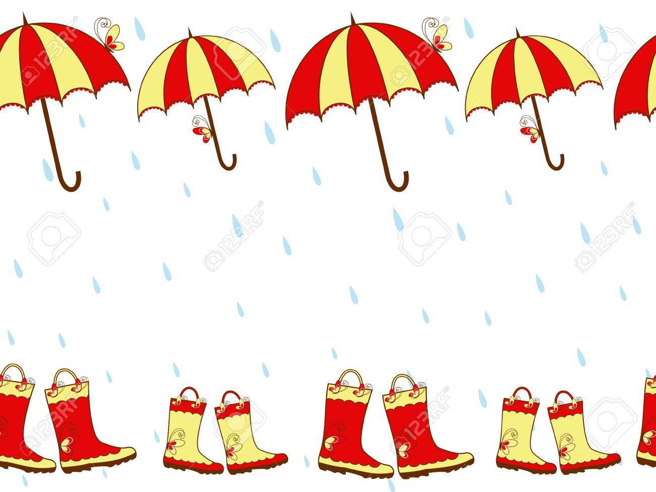 Illustration cute rain boots and umbrella seamless pattern Stock Vector - 8095898