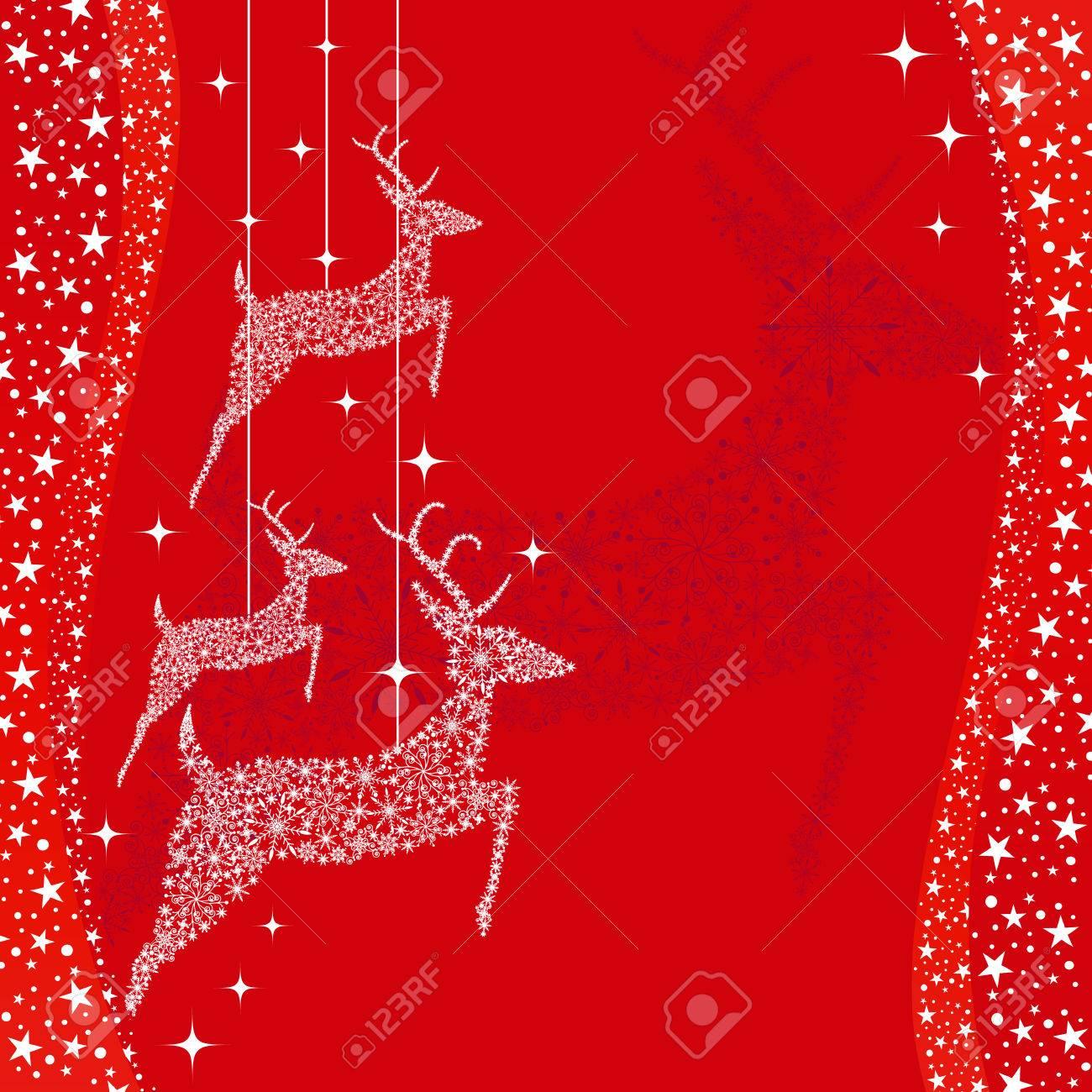 Red Christmas deer greeting card Stock Vector - 8247137