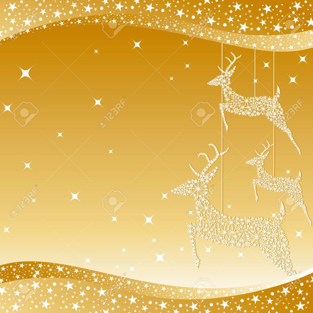 Golden Christmas deer greeting card Stock Vector - 8247140