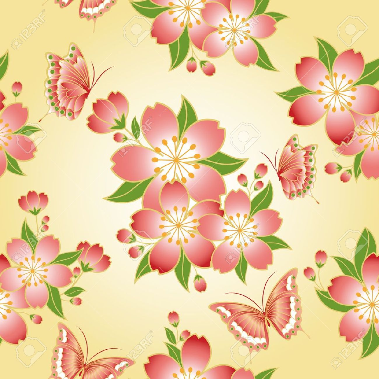 34be8dcc4 Oriental seamless pattern cherry blossom with butterfly Stock Vector -  8567660