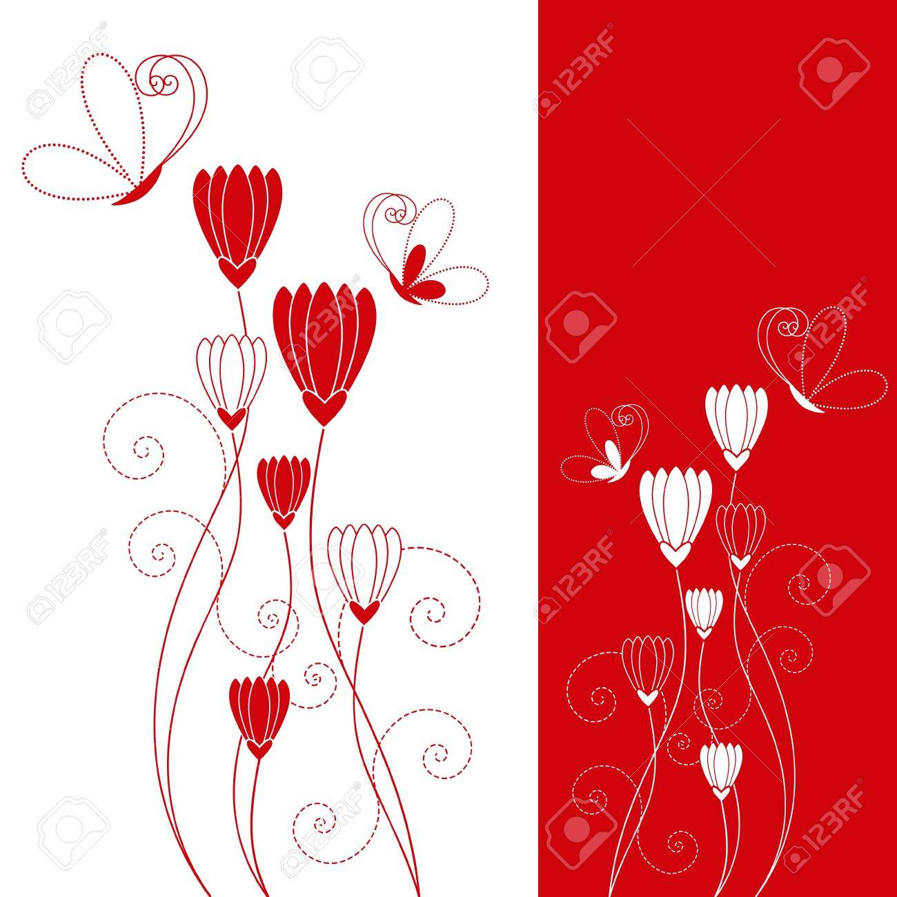 Abstract red flower with butterfly greeting card Stock Vector - 8796515