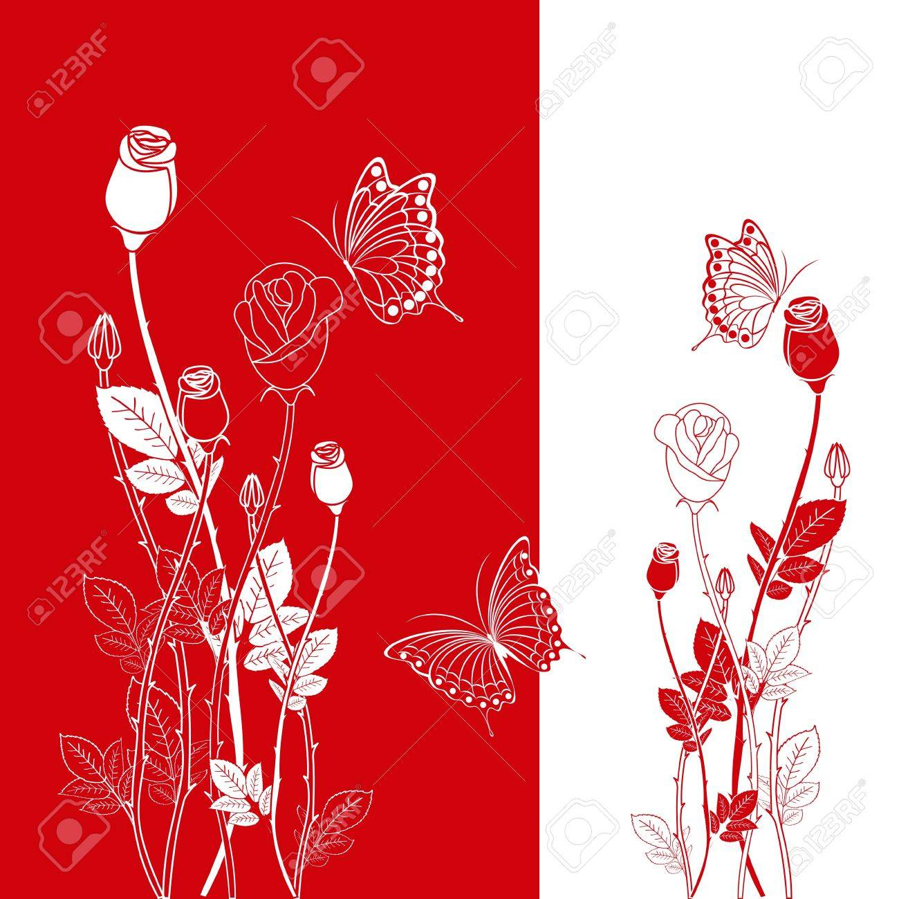 Abstract red rose with butterfly greeting card Stock Vector - 8796520