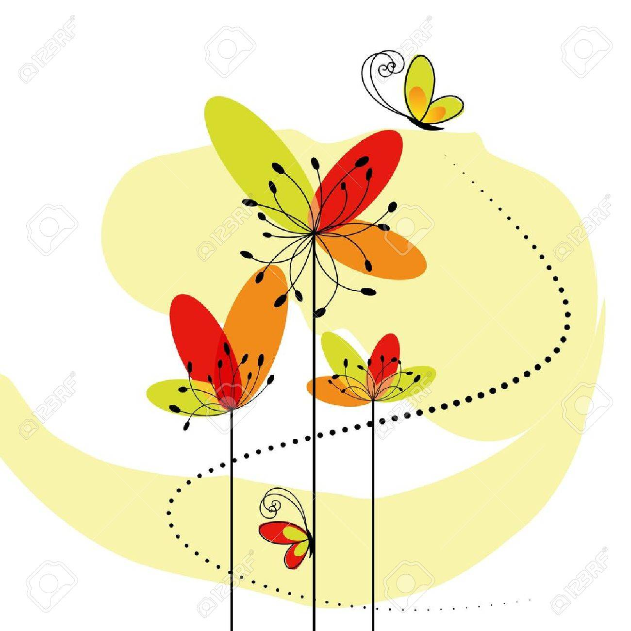 Abstract springtime flower with butterfly - 8911889