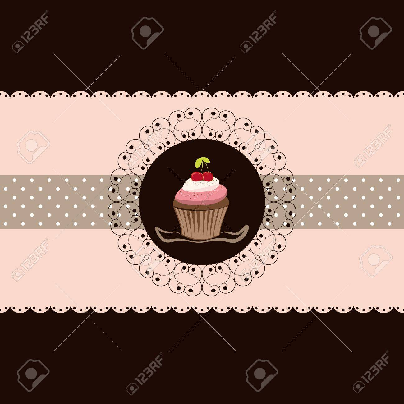 cherry cupcake invitation card pink brown background royalty free
