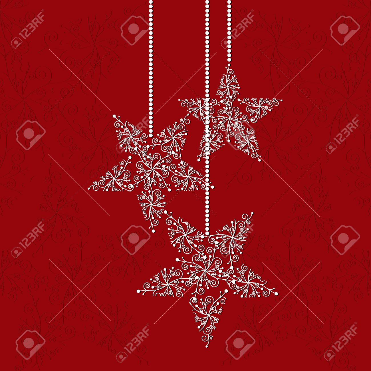 Carte De Voeux De Noël Avec Des Flocons De Neige étoile Forme Et
