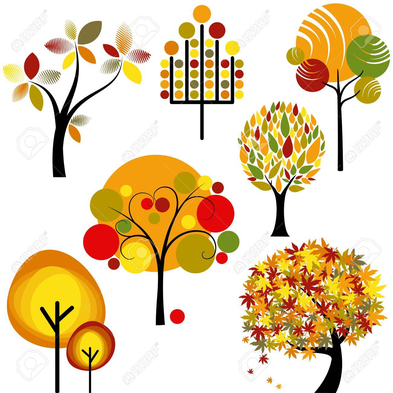 set of abstract colorful autumn tree collection Stock Vector - 10322773