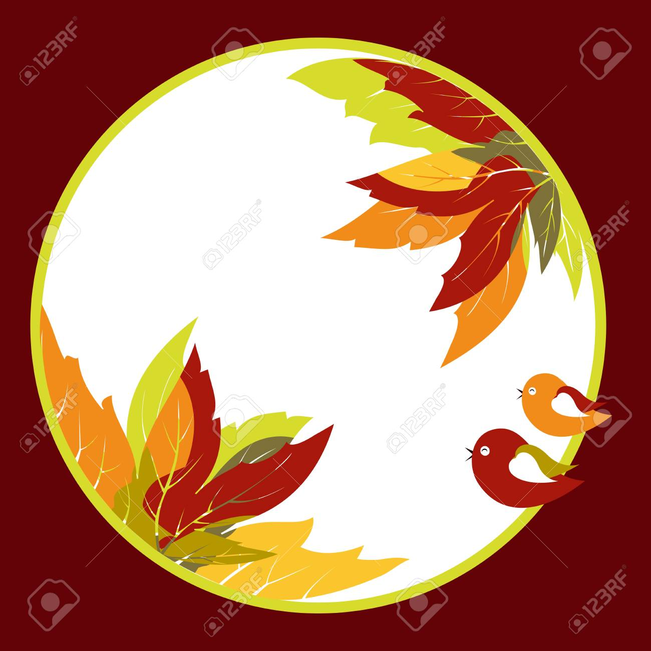 Abstract coloful autumn leaves with bird background Stock Vector - 10390555