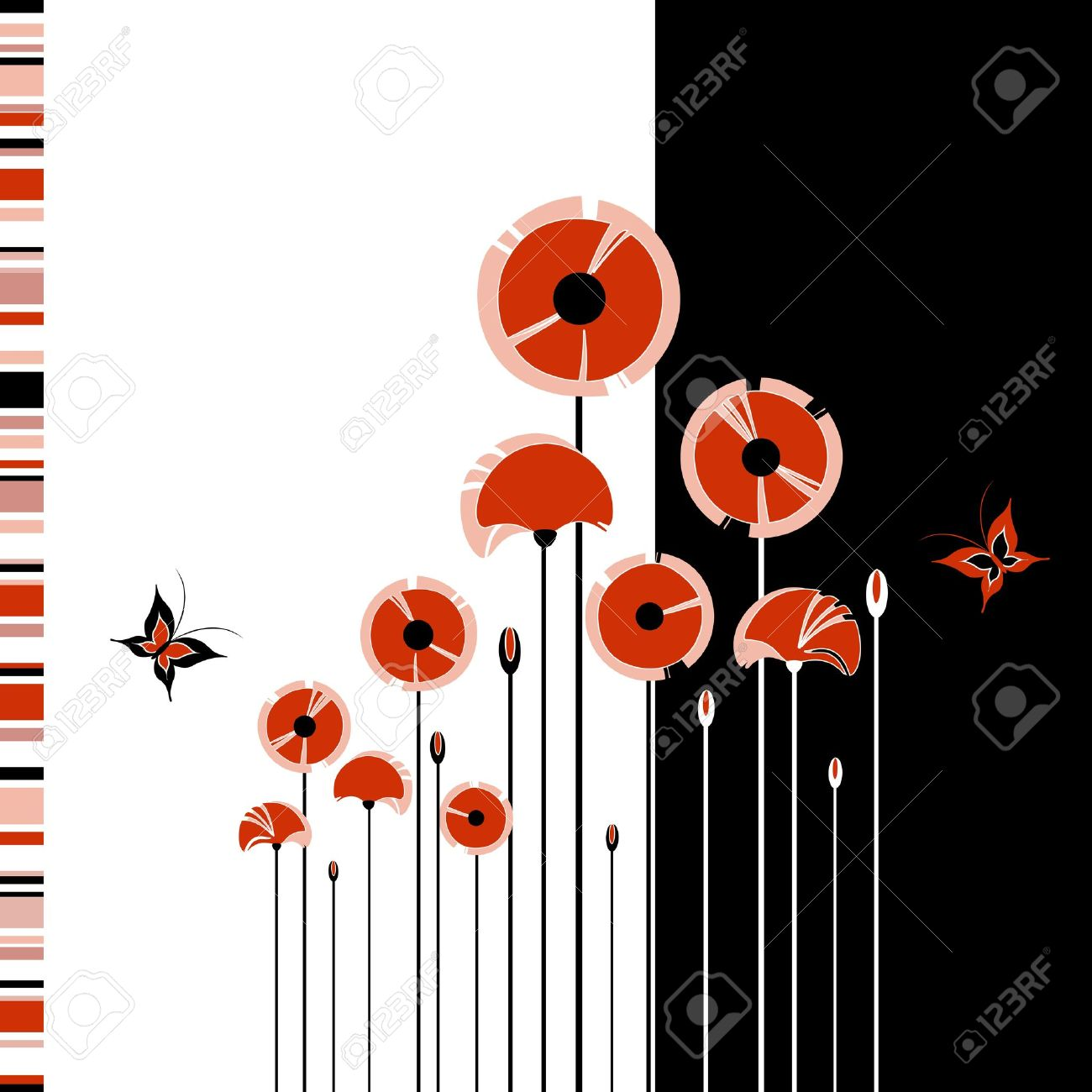 Abstract red poppy on black and white background Stock Vector - 10701095