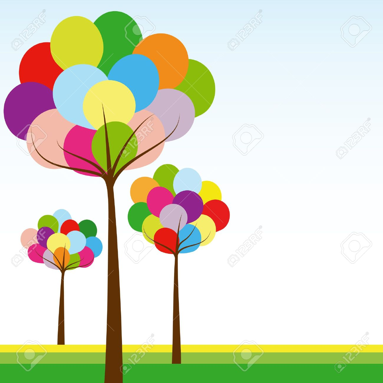 Abstract springtime rainbow color tree on green white background Stock Vector - 10701094