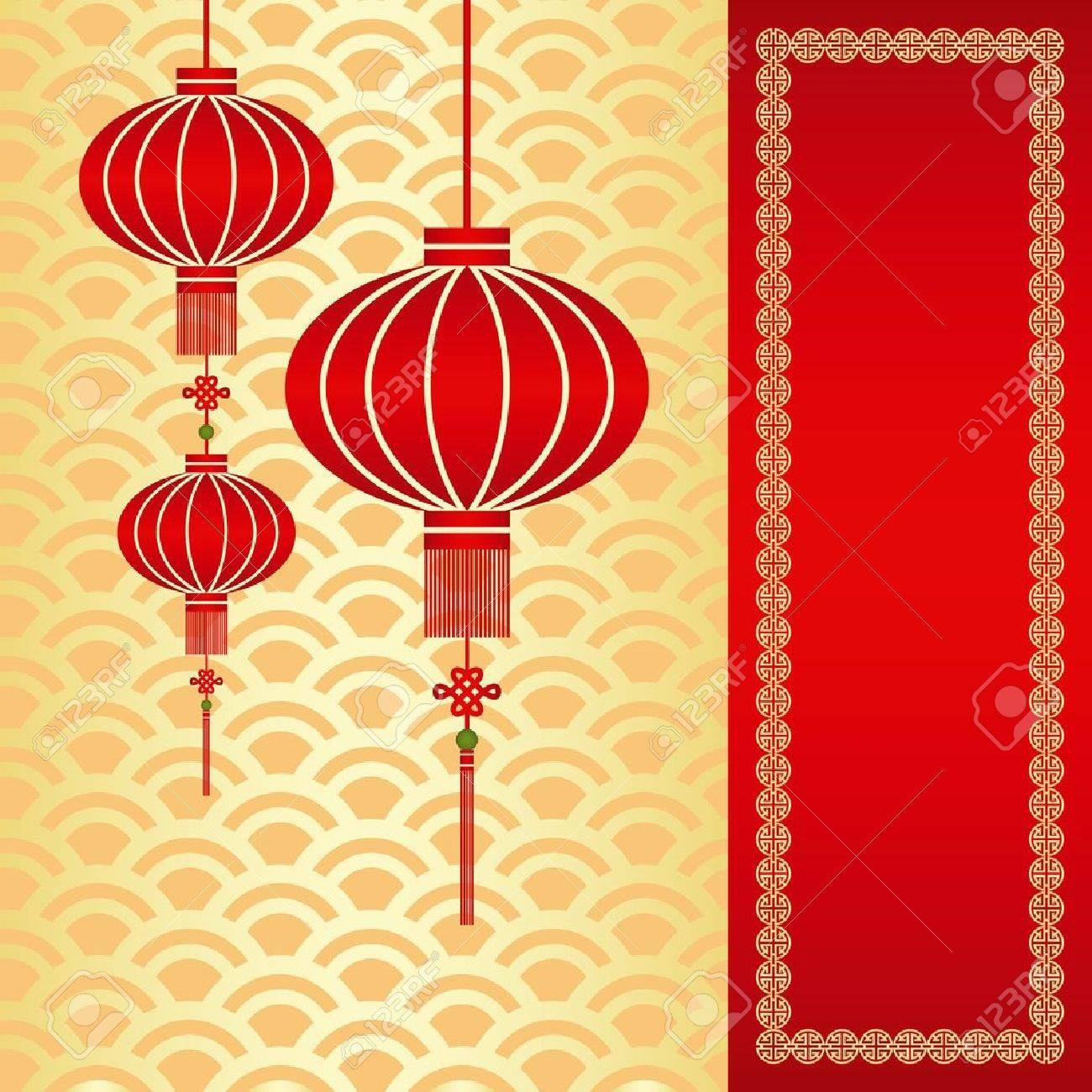 Red chinese lantern on seamless pattern background - 11531028