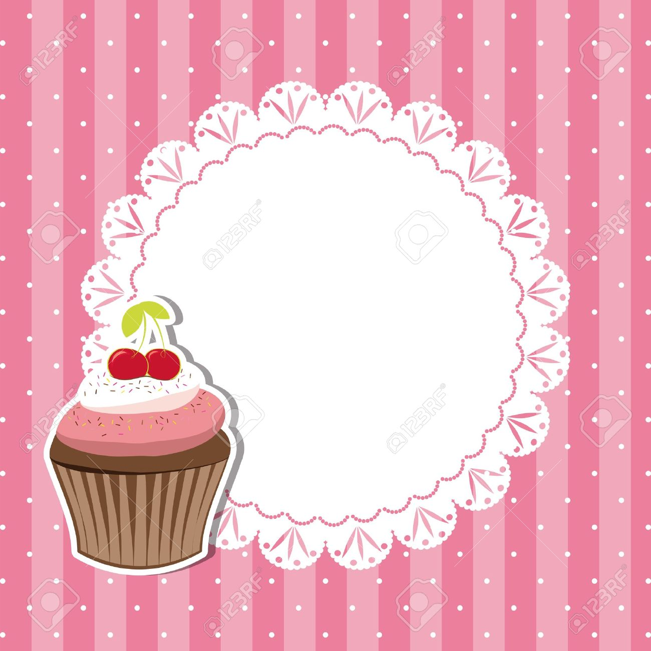 Cherry cupcake invitation card on seamless pattern background Stock Vector - 13051869