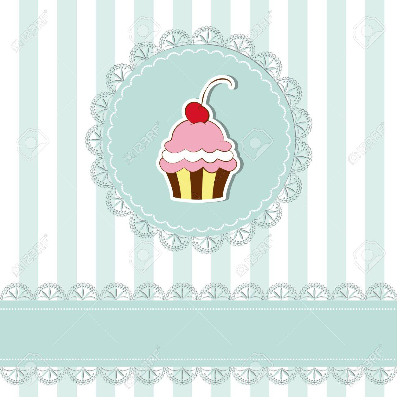 cherry cupcake invitation card on seamless pattern background