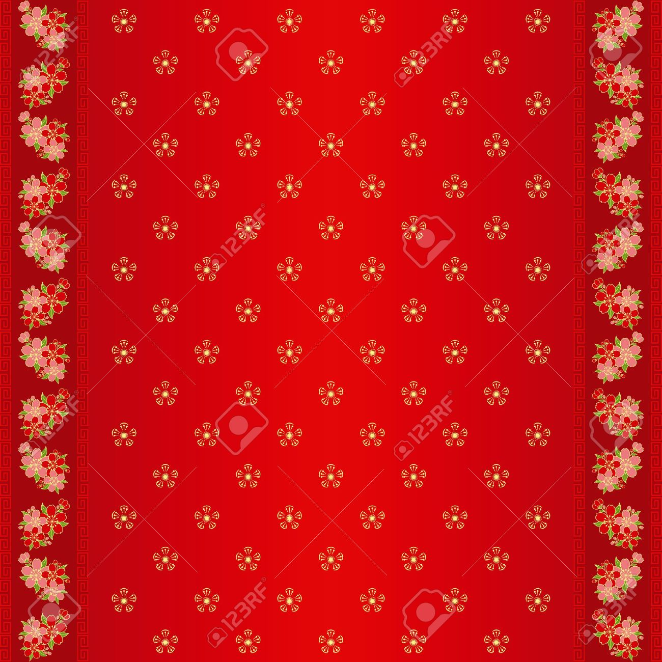 oriental chinese new year cherry blossom seamless pattern and ornate frame stock vector 14360900