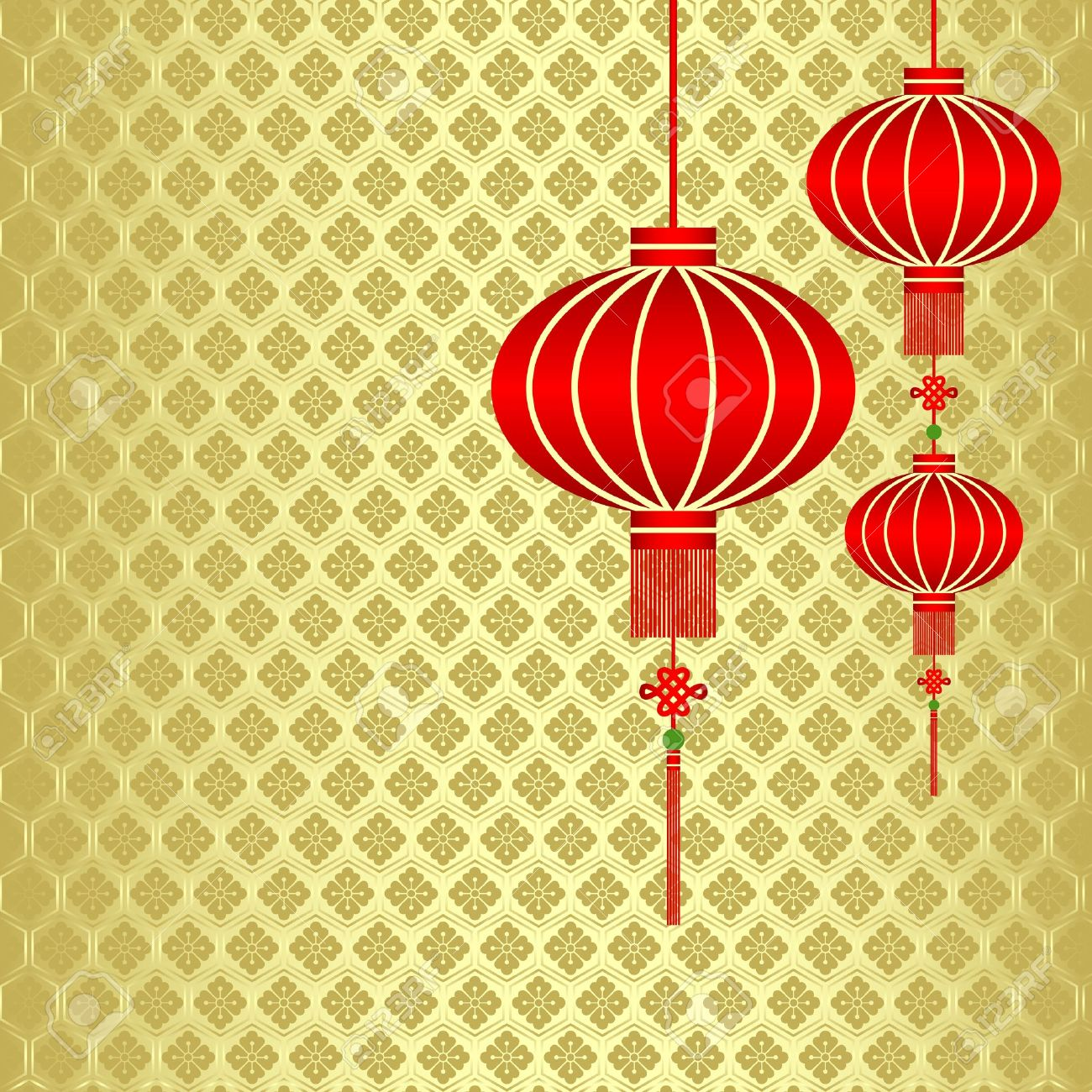 Red Chinese Lantern On Seamless Pattern Background Stock Vector