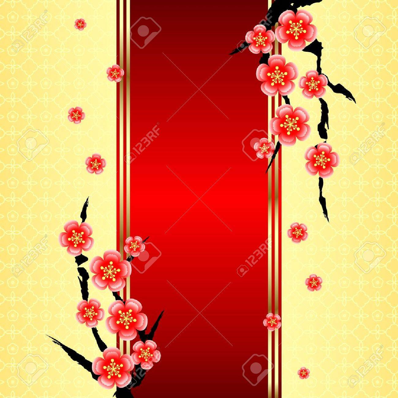 Chinese new year greeting card with cherry blossom royalty free chinese new year greeting card with cherry blossom stock vector 16792445 m4hsunfo