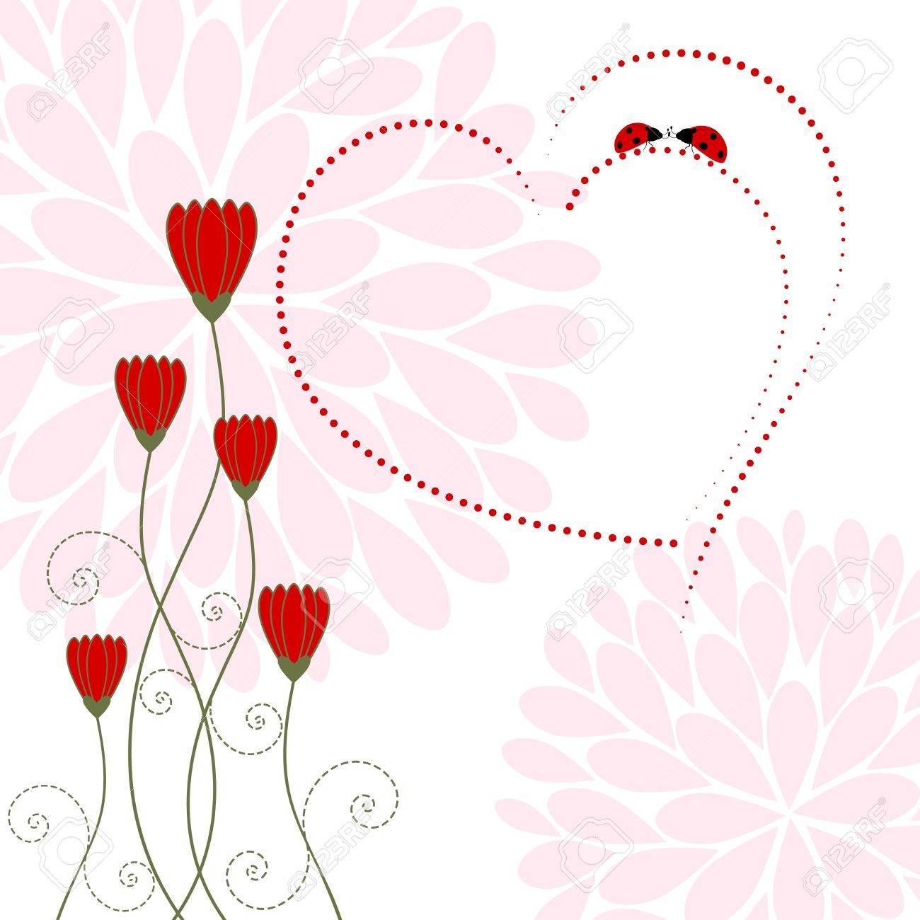 Springtime Love Card with Flower and Ladybug Stock Vector - 17271947
