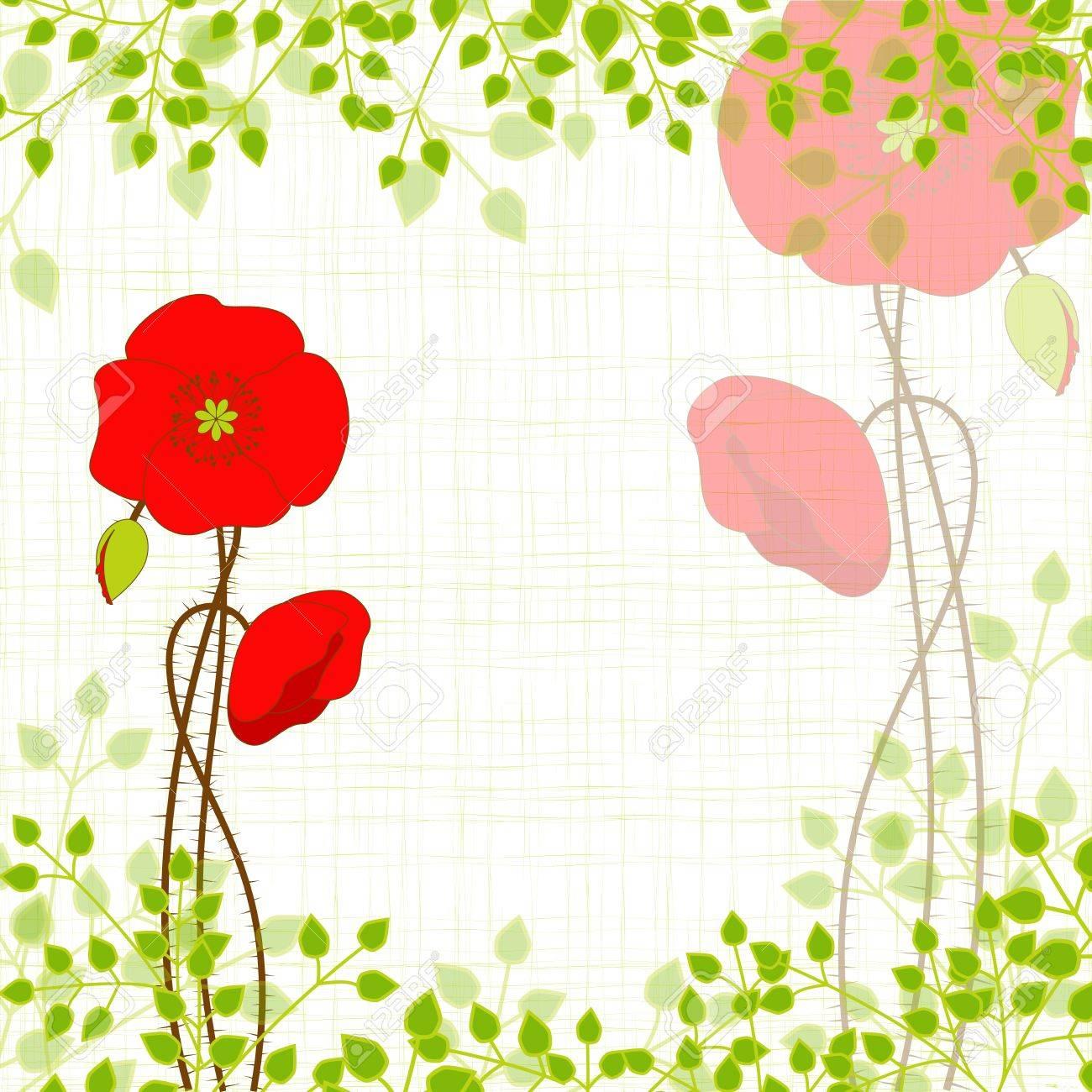 Springtime Red Poppy on Green Background Stock Vector - 18733535