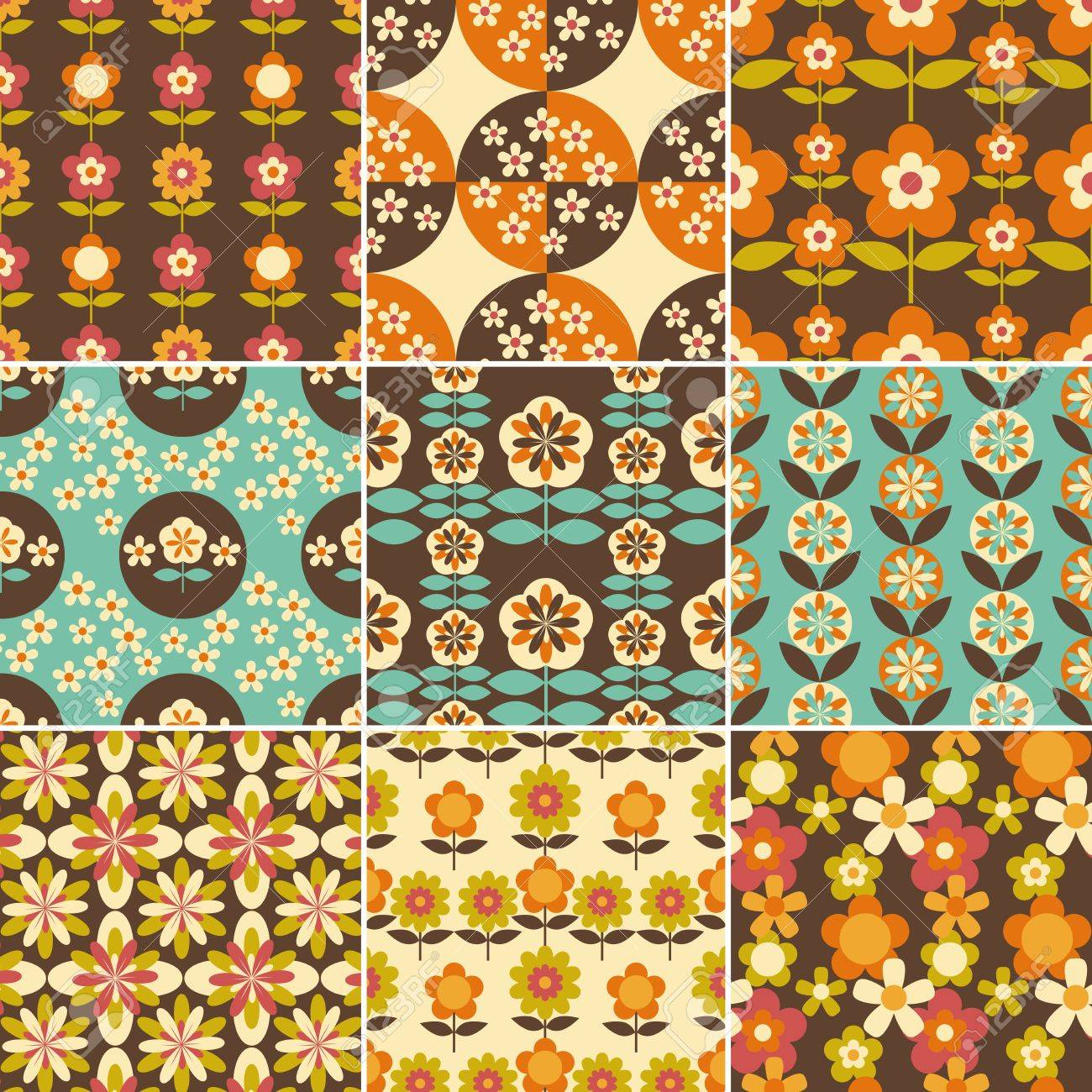 Set Of 20s Seamless Patterns Design Wallpaper Royalty Free ...