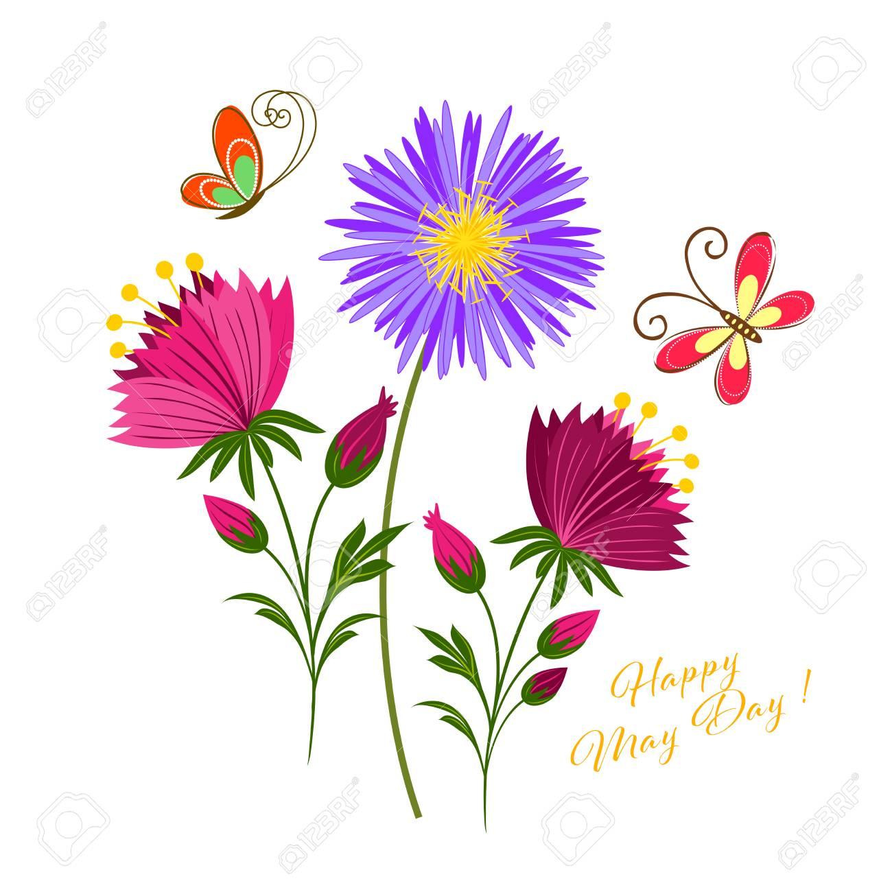5 月 1 日カラフルな花と蝶背景のイラスト素材 ベクタ Image