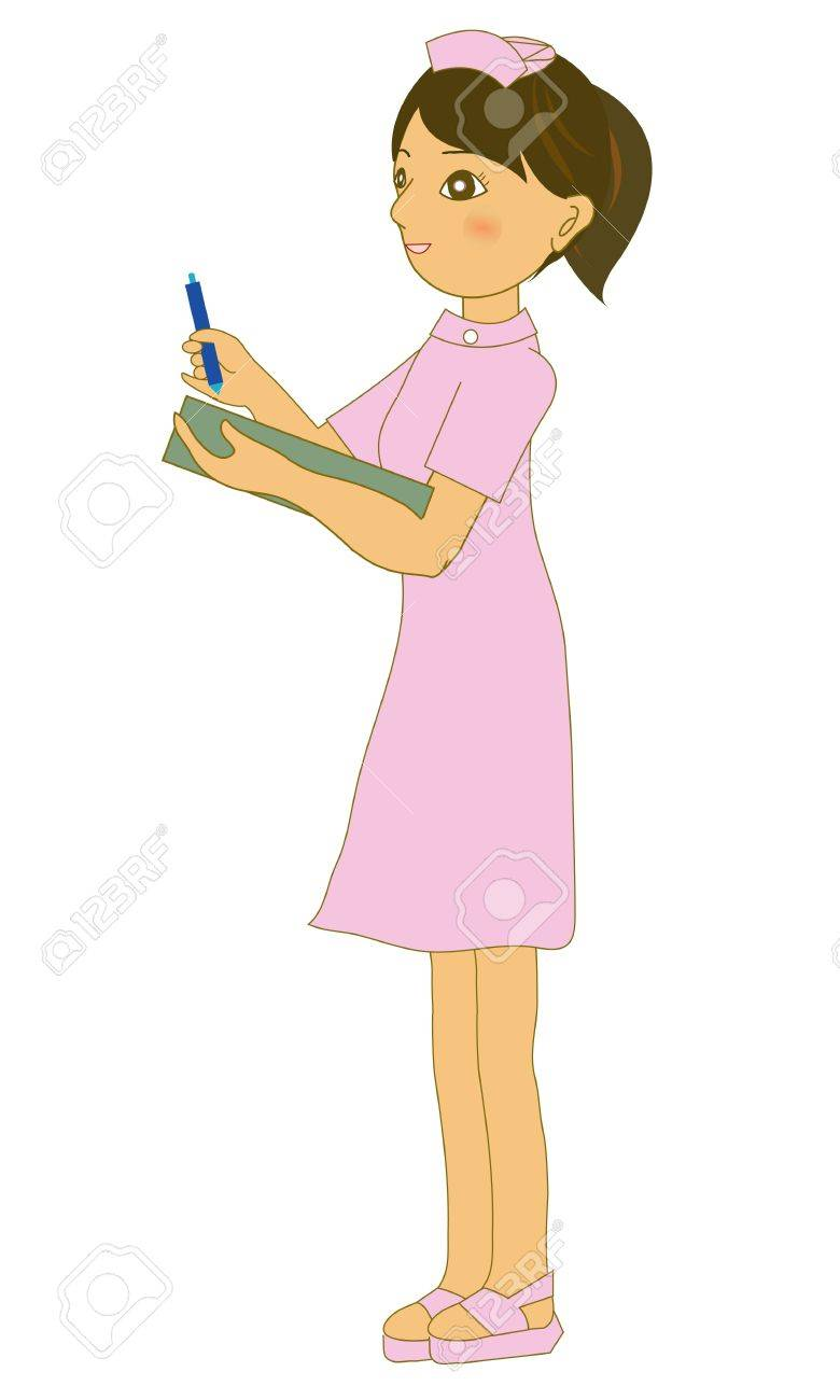 The lovely nurse who writes a chart Stock Vector - 11800346