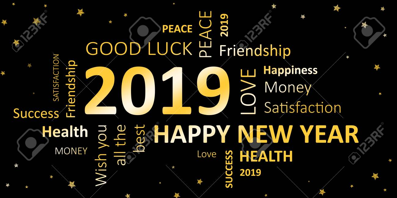Best Wishes For New Year 2019 New Year Card With Good Wishes 2019 Stock Photo, Picture And