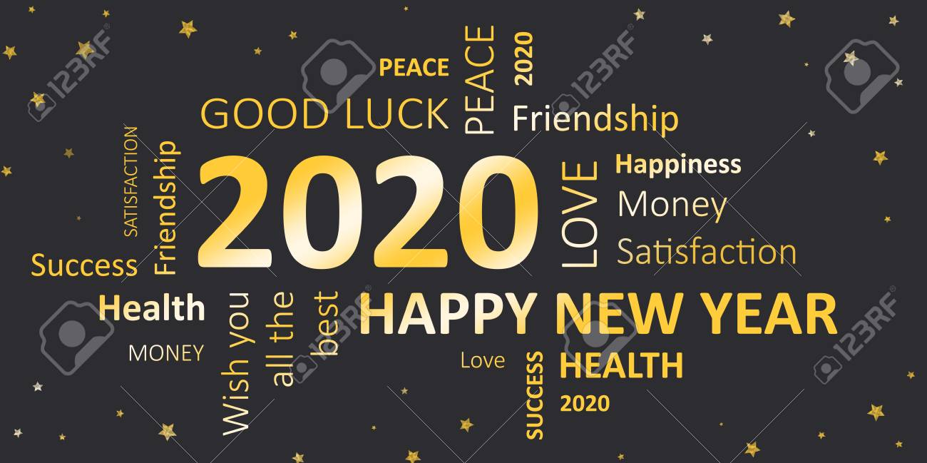 New Years Wishes 2020 New Year Card With Good Wishes 2020 Stock Photo, Picture And