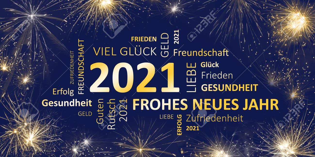 Deutsche Blaue Goldene Grußkarte Mit Guten Rutsch Ins Neue Jahr 2021 ...
