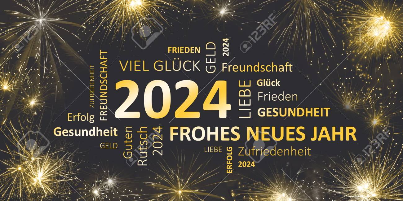 German Black Golden New Year Card With Happy New Year 2024 Stock Photo    90911776