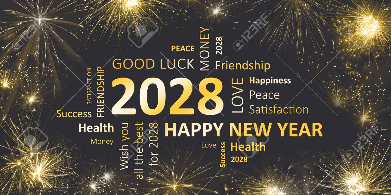 black golden new year card with happy new year 2028 stock photo 90317866