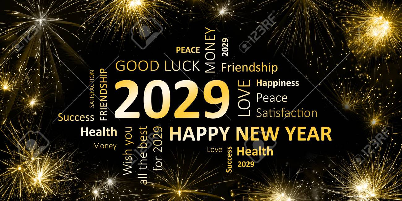 black golden new year card with happy new year 2029 Stock Photo - 90317870