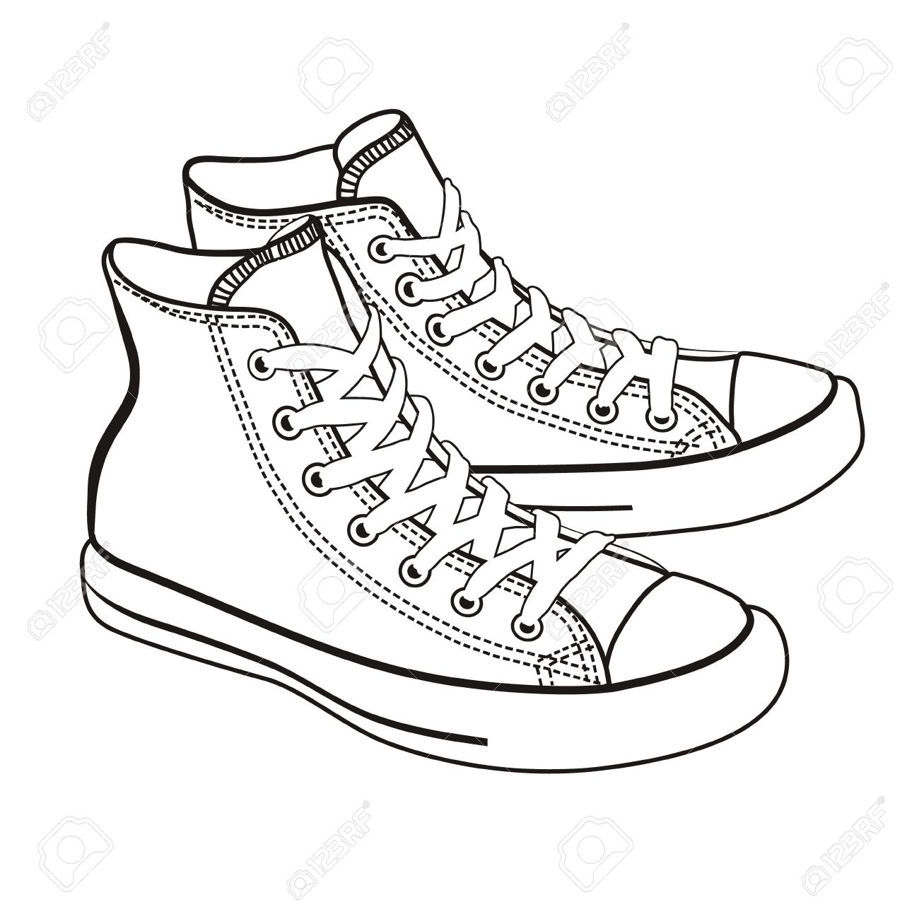 Isolated Cartoon Sneakers Lineart On White Background Royalty Free Cliparts Vectors And Stock Illustration Image 50146370