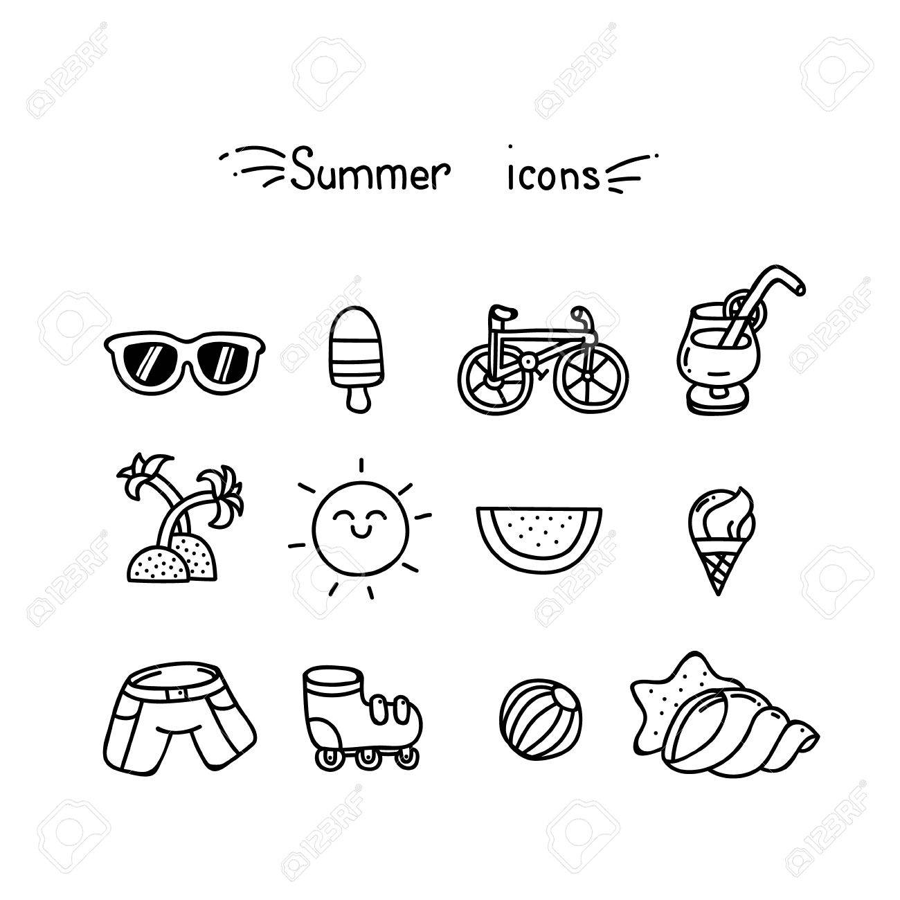 set of cute summer icons black outline royalty free cliparts vectors and stock illustration image 51331223 set of cute summer icons black outline