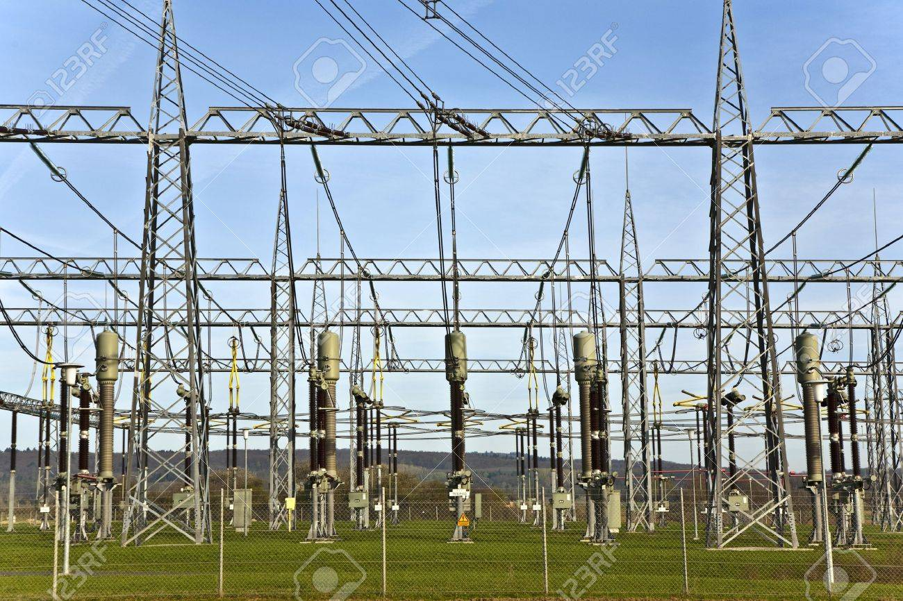 electrical power station in beautiful landscape with sky Stock Photo - 9210120