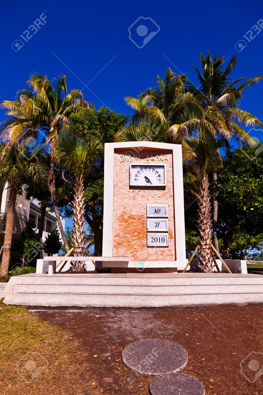 Art Deco watch with date as landmark in South Miami Stock Photo - 9218706