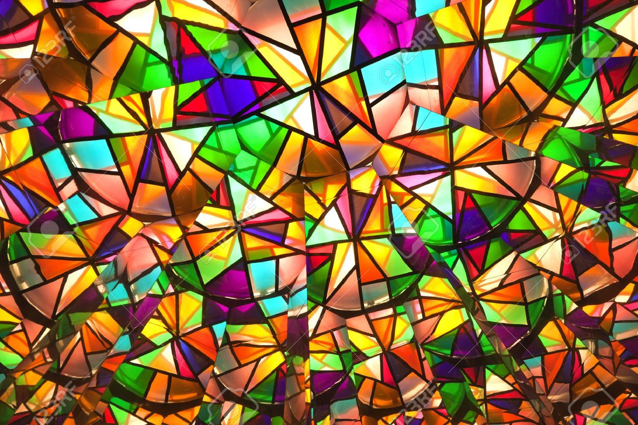 beautiful colored glass windows with asymetric pieces of different colors stock photo 9287058 - Colored Glass