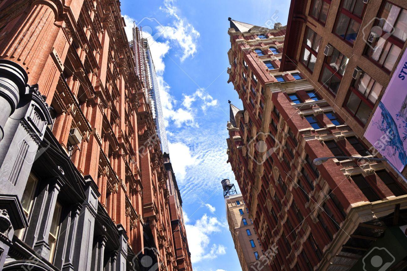 beautiful Green Street in Manhattan with old houses, New York Stock Photo - 9299086
