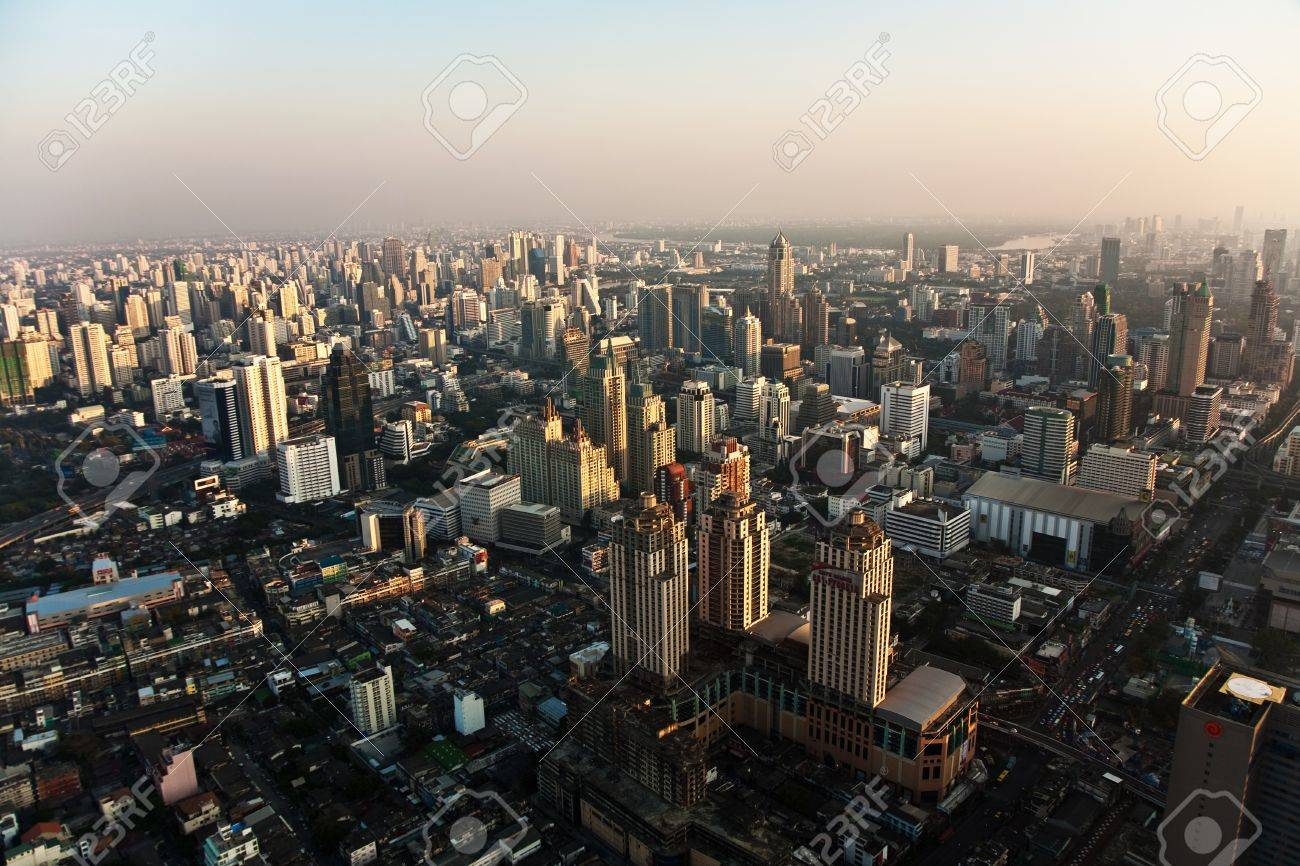 View across Bangkok skyline showing office blocks and condominiums Stock Photo - 9300709