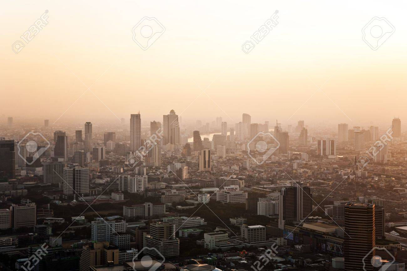 View across Bangkok skyline showing in sunset Stock Photo - 9299696