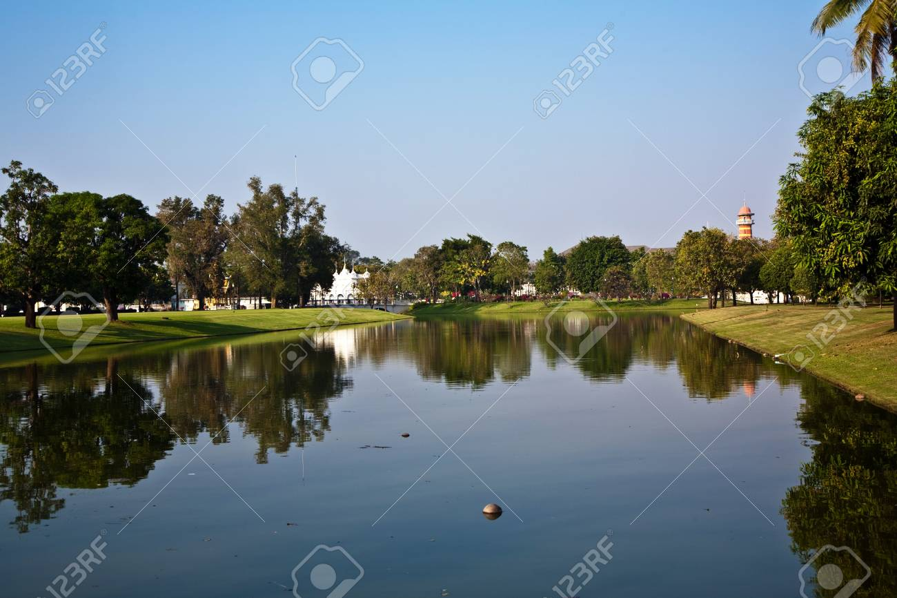 coconut is swimming in the lake of the park  in the Sommerpalace Bang Pa In of the King of Thailand near Ajuttaya Stock Photo - 9344498