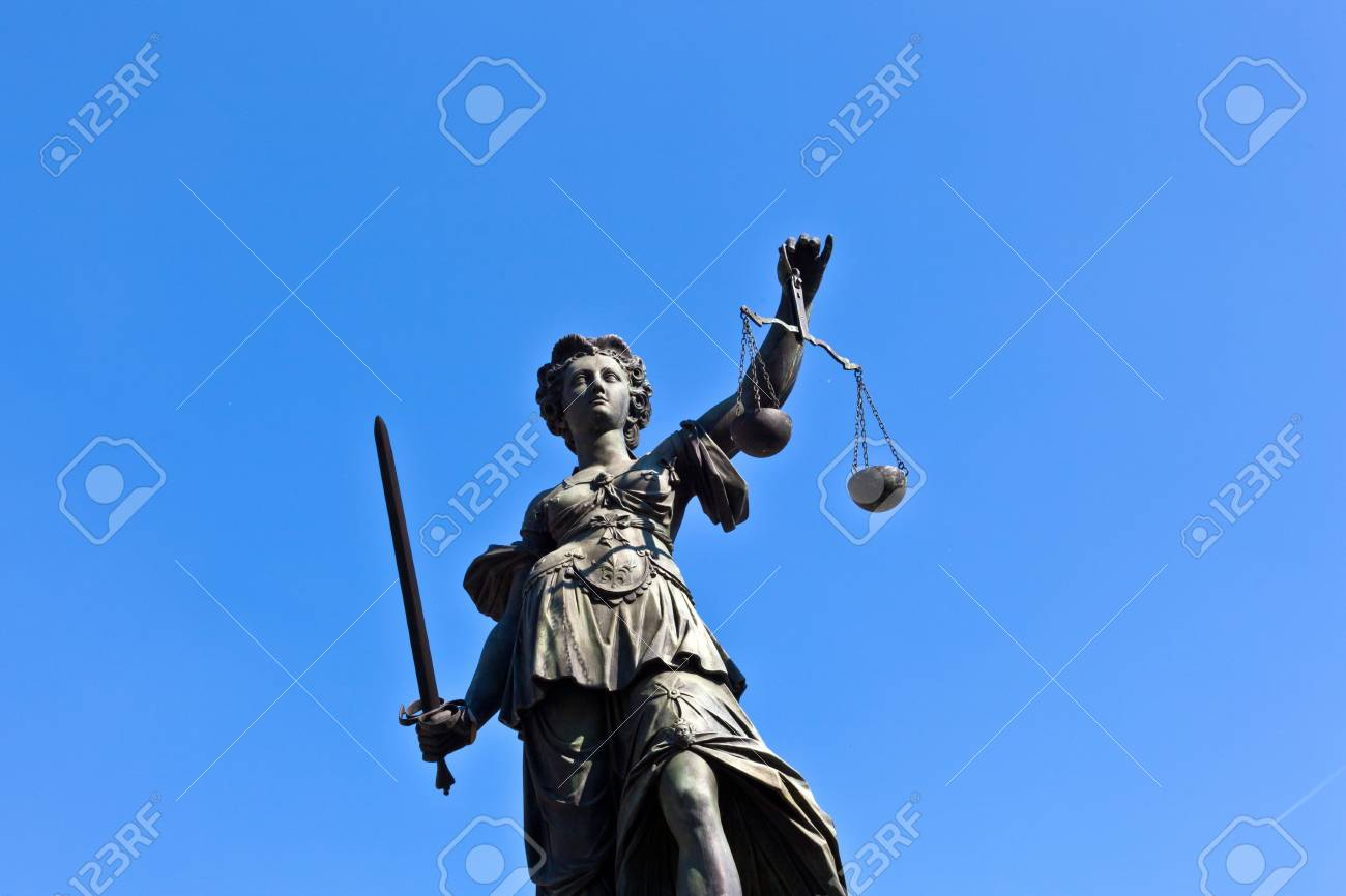 Statue of Lady Justice in front of the Romer in Frankfurt - Germany Stock Photo - 9692361