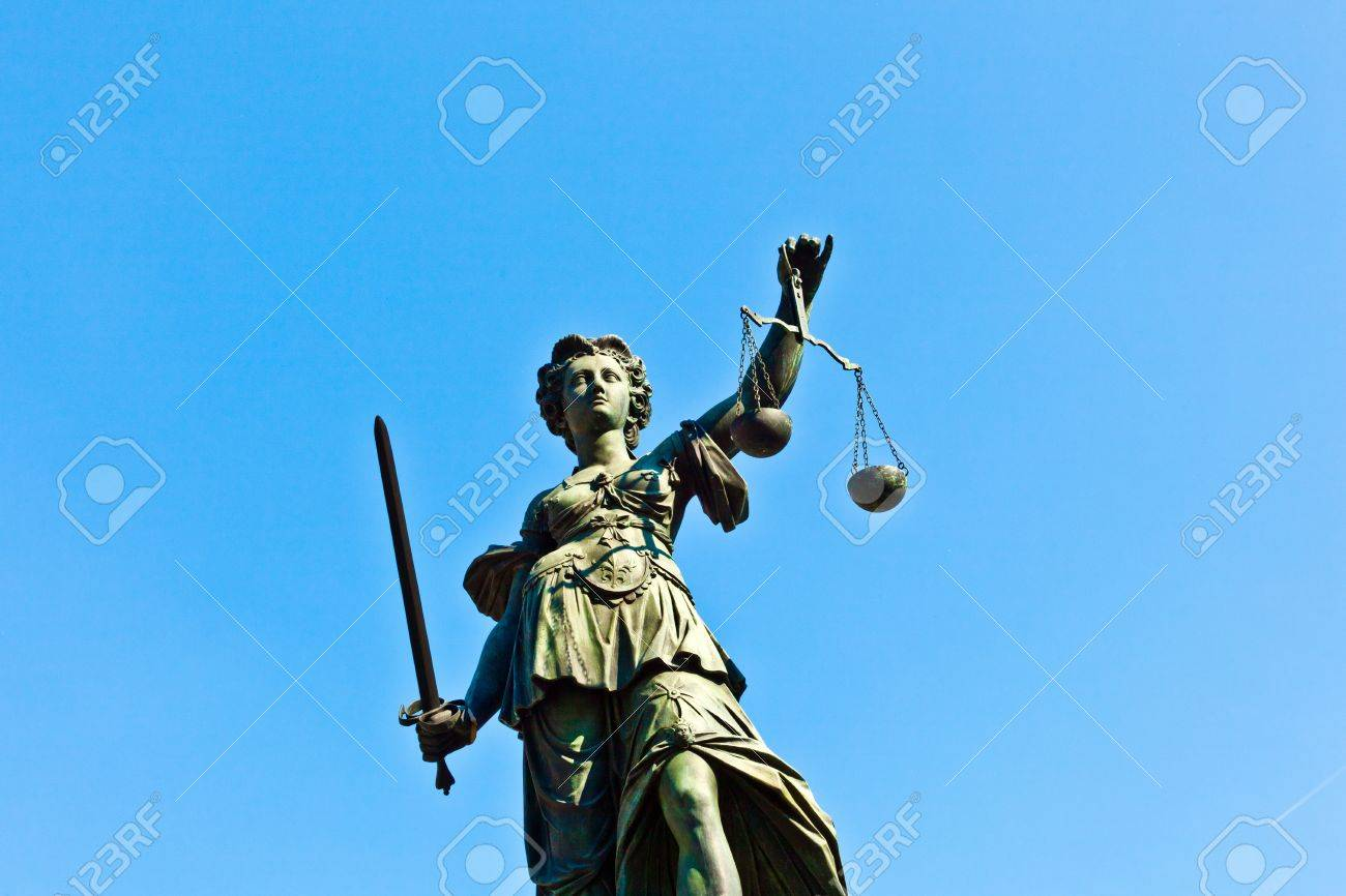 Statue of Lady Justice in front of the Romer in Frankfurt - Germany Stock Photo - 9746974