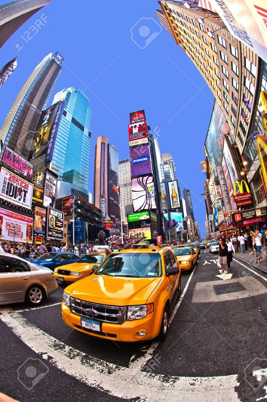 NEW YORK CITY - JUL 8: Times Square, featured with Broadway Theaters and huge number of LED signs, is a symbol of New York City and the United States, July 8, 2010 in Manhattan, New York City. Stock Photo - 9916304