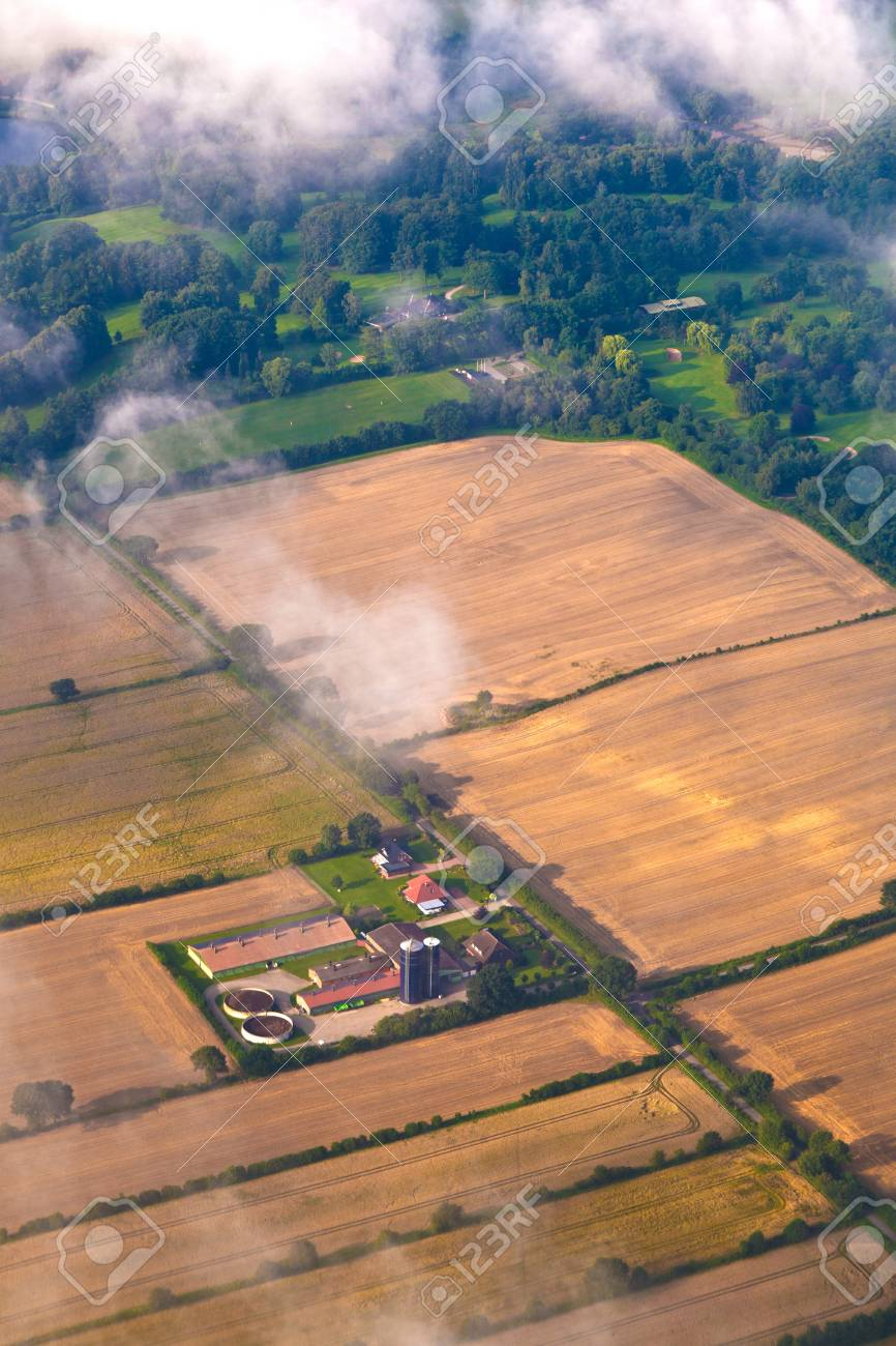 aerial of fields by approaching hamburg Stock Photo - 10009982