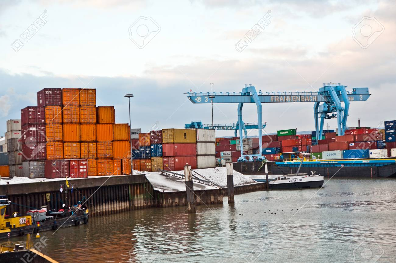 MAINZ, GERMANY - JANUARY 1: ships in container harbor in Winter on January, 1, 2010 in Mainz, Germany. He was constructed by Eduard Kreyssig between 1880 and 1887 on base of a roman war harbor. Stock Photo - 10274025